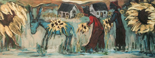 Harvesting Sunflowers by Frans Claerhout