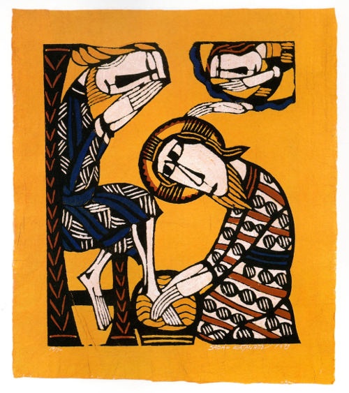 Jesus Washes Peter's Feet by Sadao Watanabe
