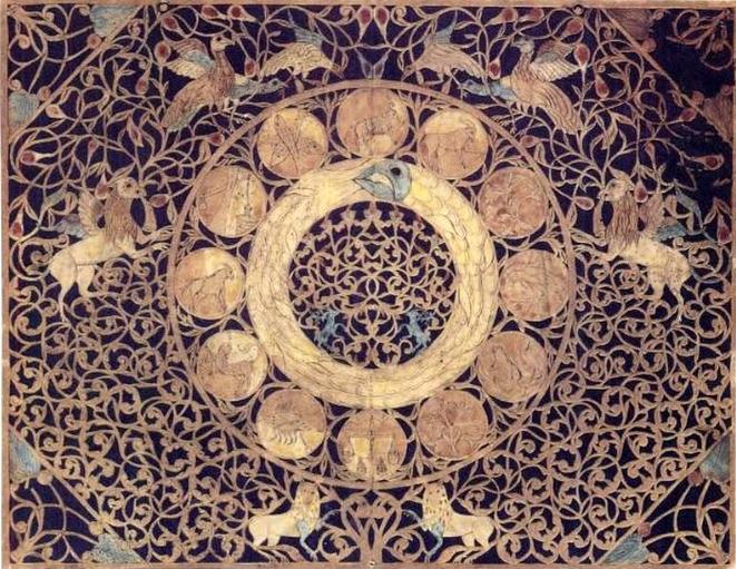 Jewish papercut with Leviathan and zodiac