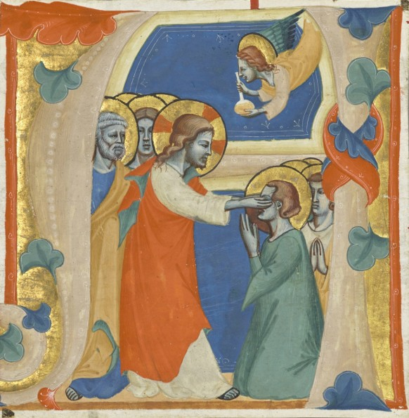 Christ wiping the tears from the eyes of the saved