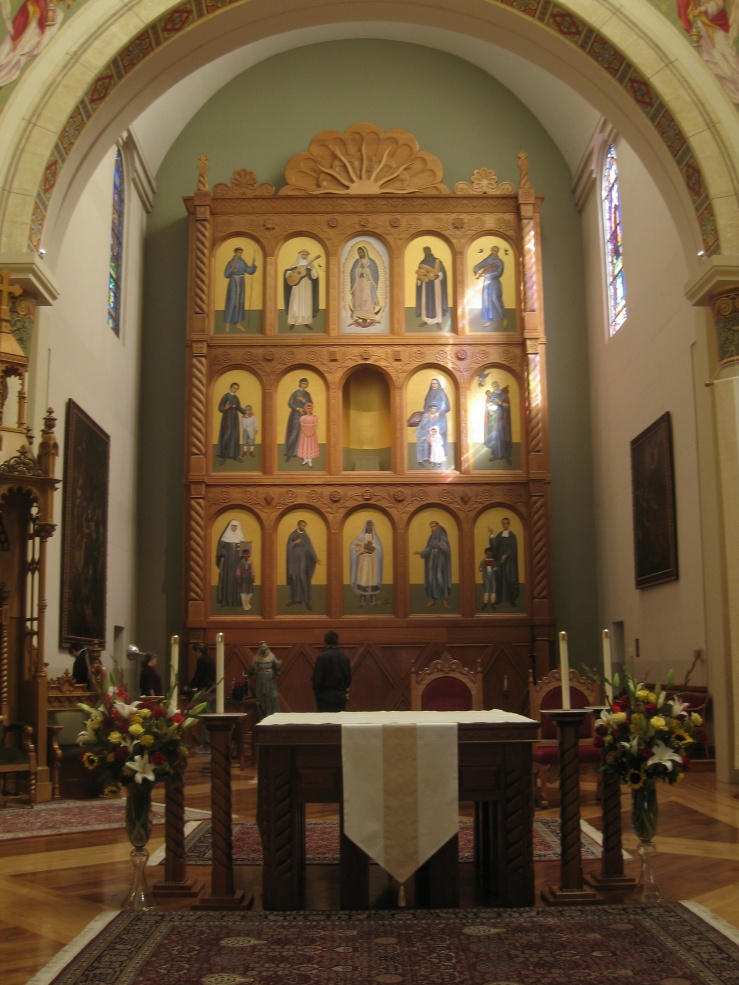 Saints of the Americas reredos by Robert Lentz
