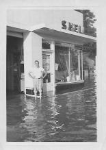 Pop-Pop's Sanhican Drive Shell station in Trenton after a hurricane, ca. September 1955.