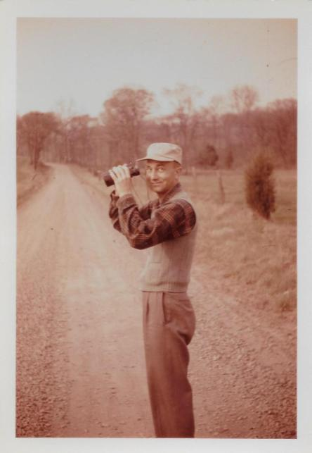 Pop-Pop and family sometimes went walking down country roads with binoculars.