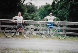 Riding bikes along the Delaware River with brother-in-law Don, July 1996.