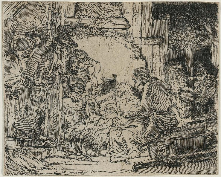 The Adoration of the Shepherds, with the Lamp by Rembrandt
