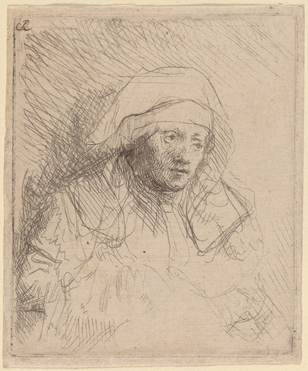 Sick Woman with a Large White Headdress by Rembrandt