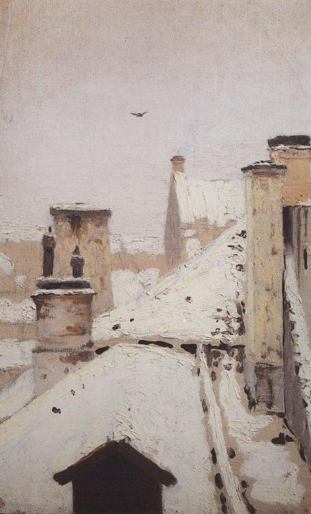 Roof, Winter by Arkhip Kuindzhi