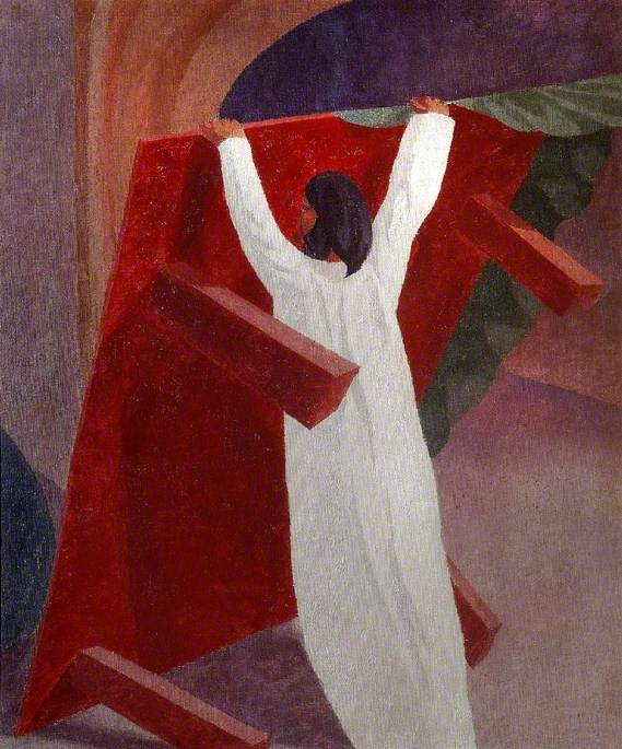 Christ Overturning the Money Changers' Table by Stanley Spencer