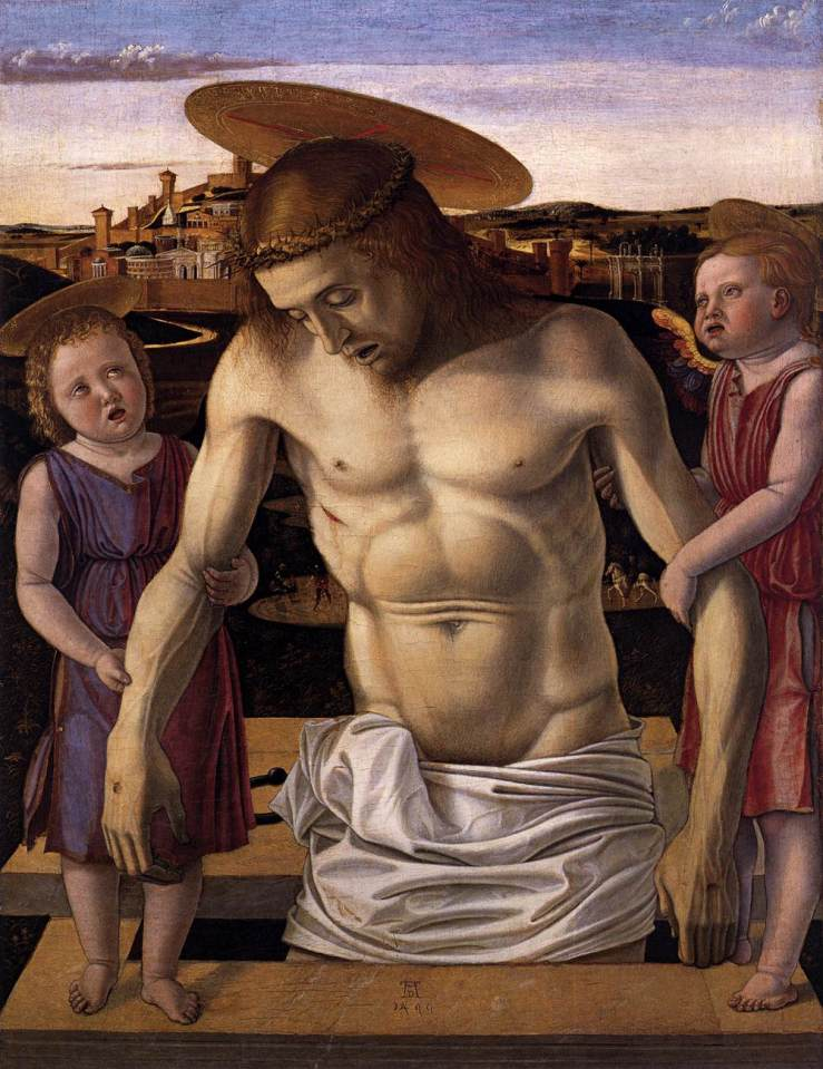 Dead Christ Supported by Two Angels by Giovanni Bellini