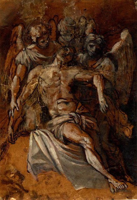 Dead Christ Supported by Angels by Giacomo Cavedone