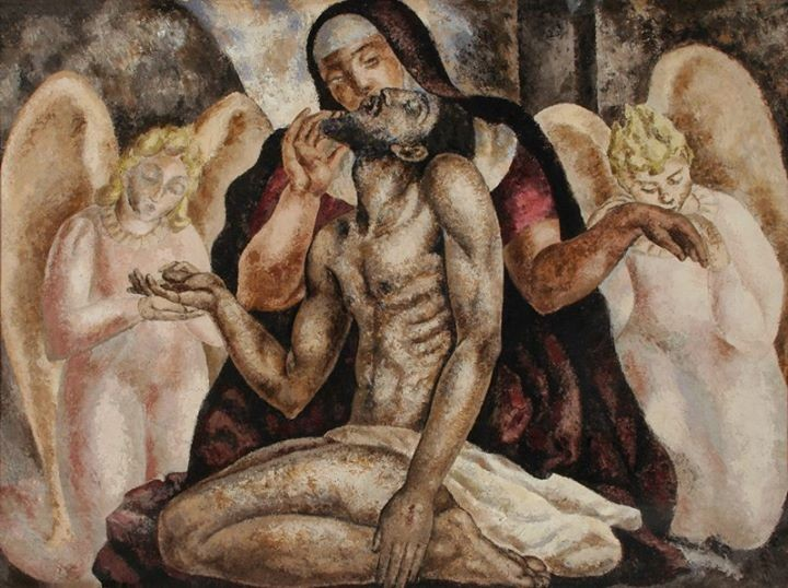 Dead Christ Supported by Angels by Alfredo Guttero