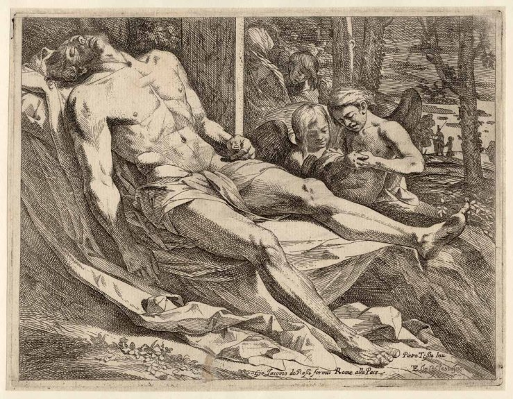 The Body of Christ Mourned by Angels by Giovanni Cesare Testa
