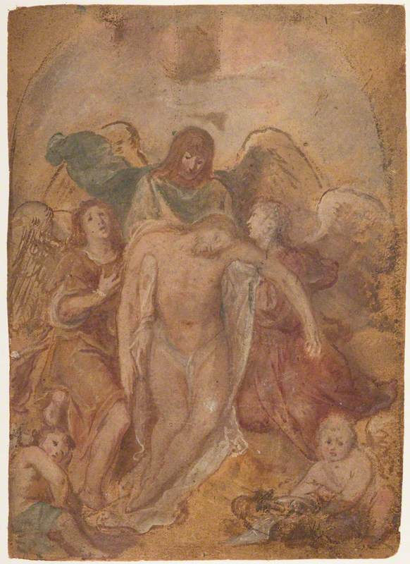 The Dead Christ Supported by Angels by Otto van Veen