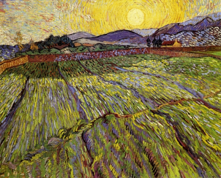 Enclosed Field with Rising Sun by Vincent van Gogh