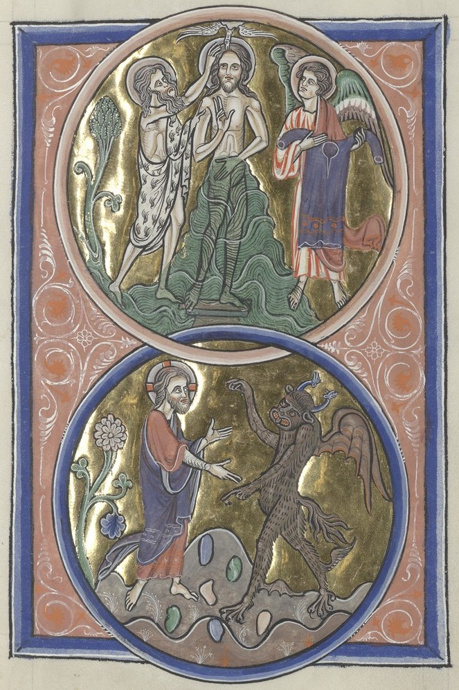 Baptism and Temptation (Sainte-Chapelle Psalter)