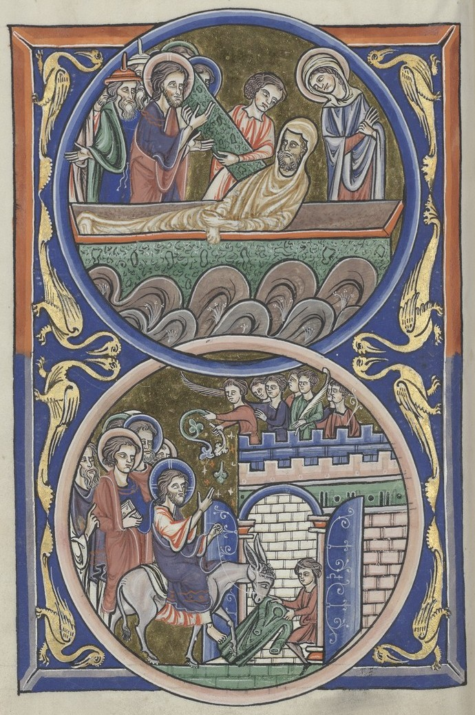 Raising of Lazarus and Entry into Jerusalem (Sainte-Chapelle Psalter)