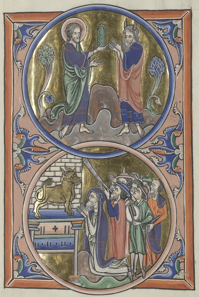 Ten Commandments and Golden Calf (Sainte-Chapelle Psalter)