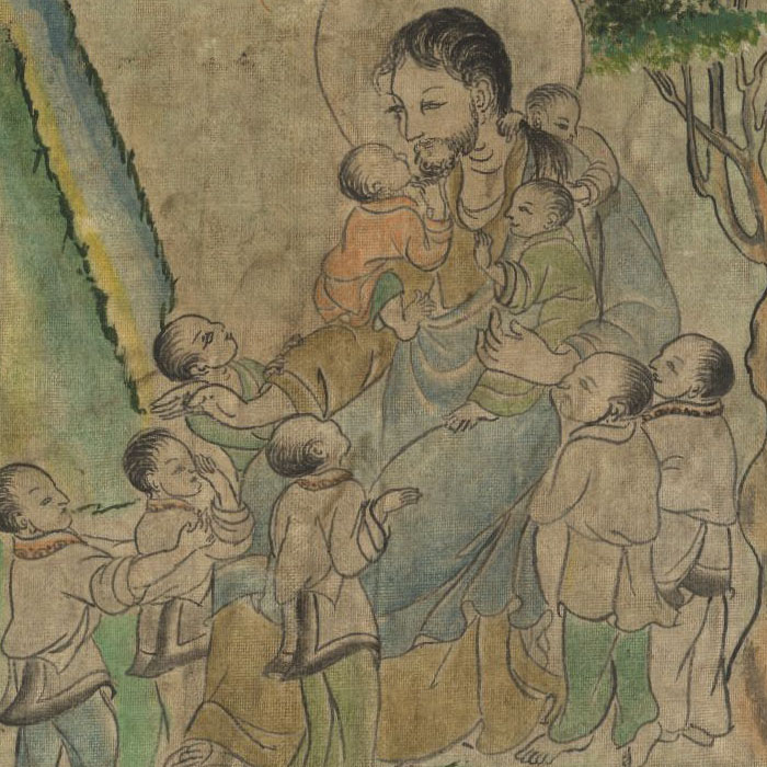 Jesus with Children (thangka)