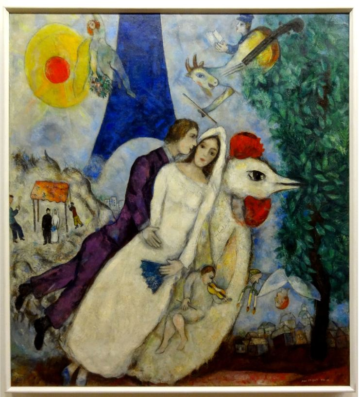 Les maries de la tour Eiffel by Marc Chagall