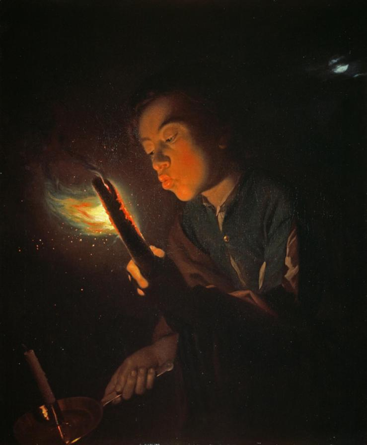 Schalcken, Godfried_A Boy Blowing on a Firebrand