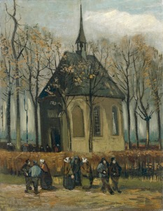 Van Gogh, Vincent_Congregation Leaving the Reformed Church in Nuenen